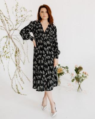 Гарна сукня міді з довгими рукавами, чорна
