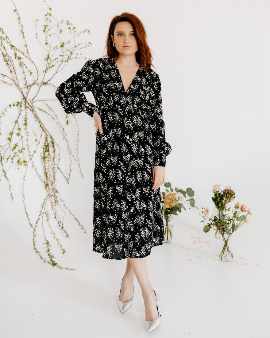 Сукня міді з довгими рукавами, чорна