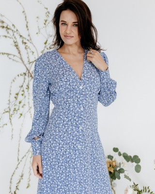 Гарна сукня міді з довгими рукавами, блакитна
