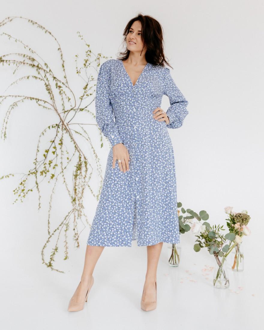 Сукня міді з довгими рукавами, блакитна