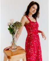 Літня довга сукня з рюшами, червона