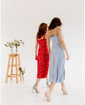 Літня довга сукня з рюшами, блакитна
