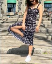 Літня довга сукня з рюшами, чорна