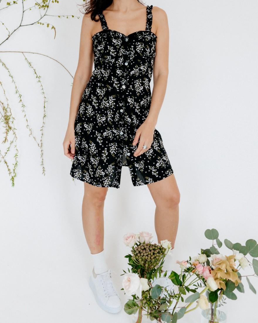 Літня сукня міні з рюшами, чорна