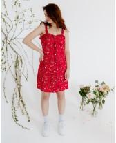 Літня сукня міні з рюшами, червона