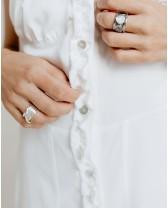 Літня сукня міні з рюшами, біла