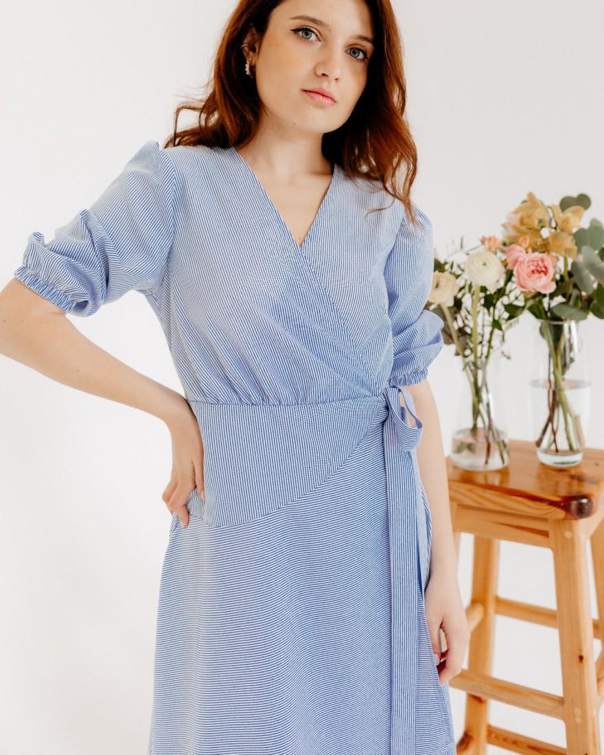 Сукня на запах міді, блакитна в білу смужку