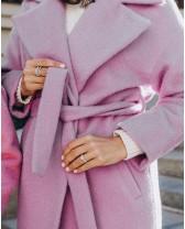 Довге жіноче пальто прямого крою з поясом 2 ґудзика, фіолетове