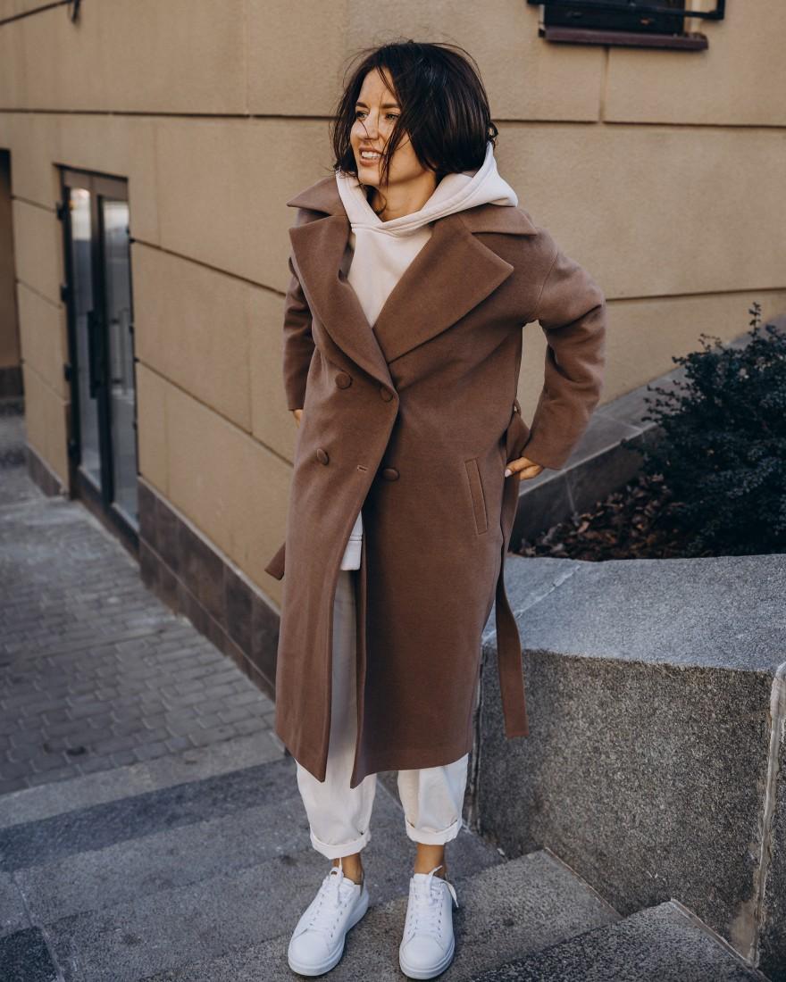 Довге жіноче пальто прямого крою з поясом 2 ґудзика, темно-бежеве