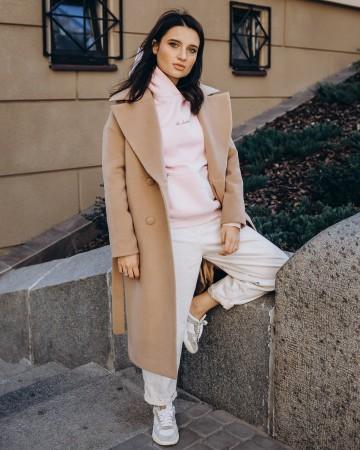 Довге жіноче пальто прямого крою з поясом 2 ґудзика, бежеве
