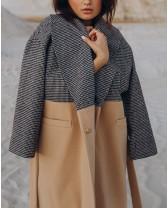 Довге жіноче пальто двокольорове, пісок/клітинка