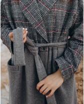 Довге жіноче пальто двокольорове, сірий/клітинка