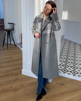 Довге жіноче пальто двокольорове, світло-сіре клітинка