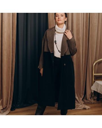 Довге жіноче пальто двокольорове, синє бордова клітинка