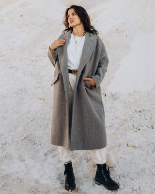 Жіноче пальто максі 2 ґудзика, сіре