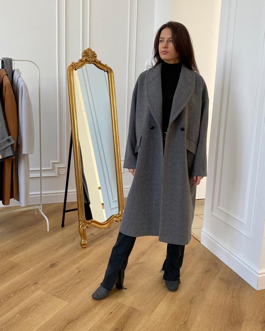 Жіноче пальто максі 2 ґудзика, сіра вовна