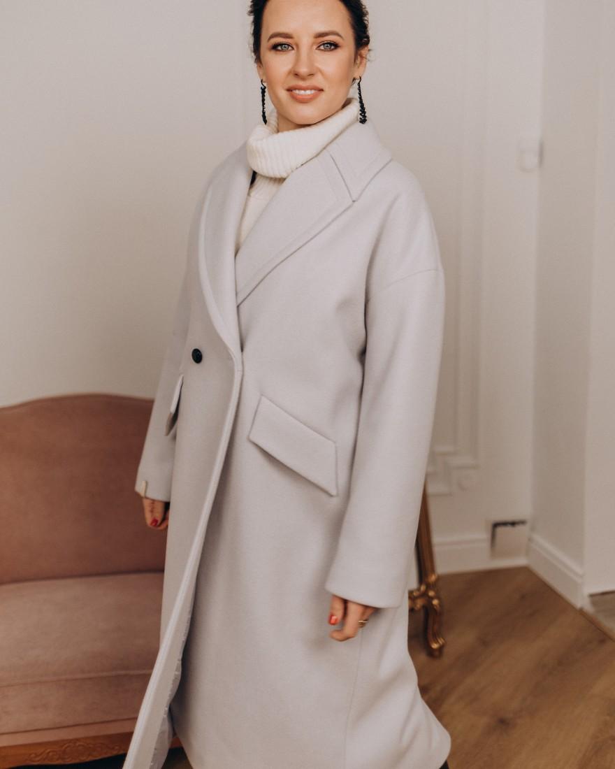 Жіноче пальто максі 2 ґудзика, нюдово-ліловий