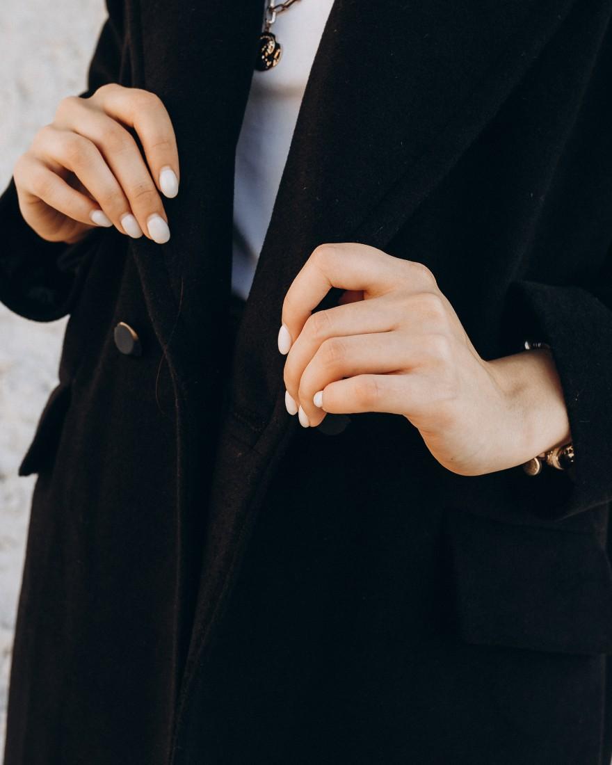 Жіноче пальто максі 2 ґудзика, чорне