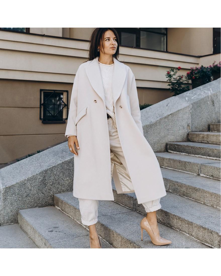 Жіноче пальто максі 2 ґудзика, біле молоко