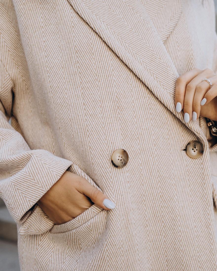 Жіноче пальто максі 2 ґудзика, бежева ялинка