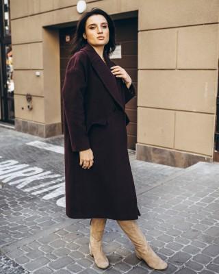 Жіноче пальто максі 2 ґудзика, бордо
