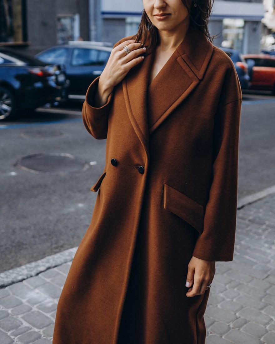 Жіноче пальто максі 2 ґудзика, коричневе