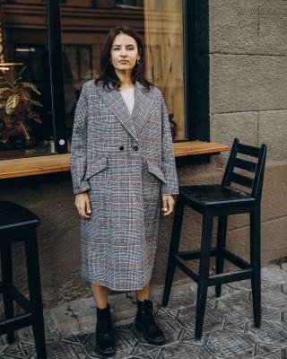 Жіноче пальто максі 2 ґудзика, сіра клітинка