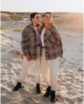 Жіноче пальто міні 5 ґудзиків, сіра клітинка