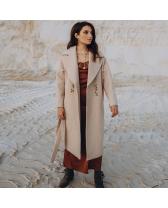 Довге жіноче пальто з поясом 10 ґудзиків , мармур
