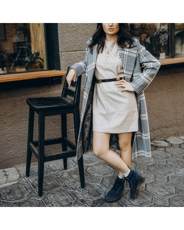 Довге жіноче пальто з поясом 10 ґудзиків, сіра клітинка