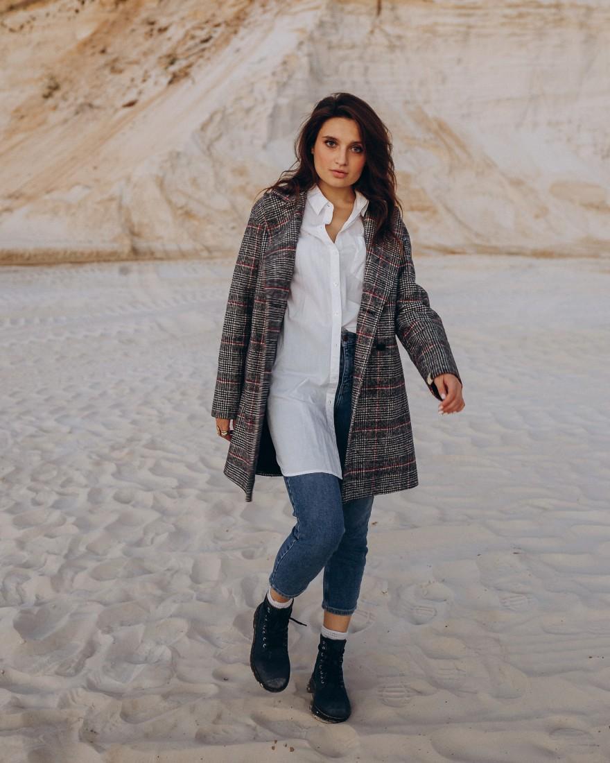 Жіноче пальто міді прямого крою 4 ґудзика, сіра клітинка
