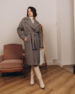 Довге жіноче пальто з поясом 4 ґудзика, світло-сіра ялинка