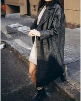Довге жіноче пальто з поясом 4 ґудзика, денім