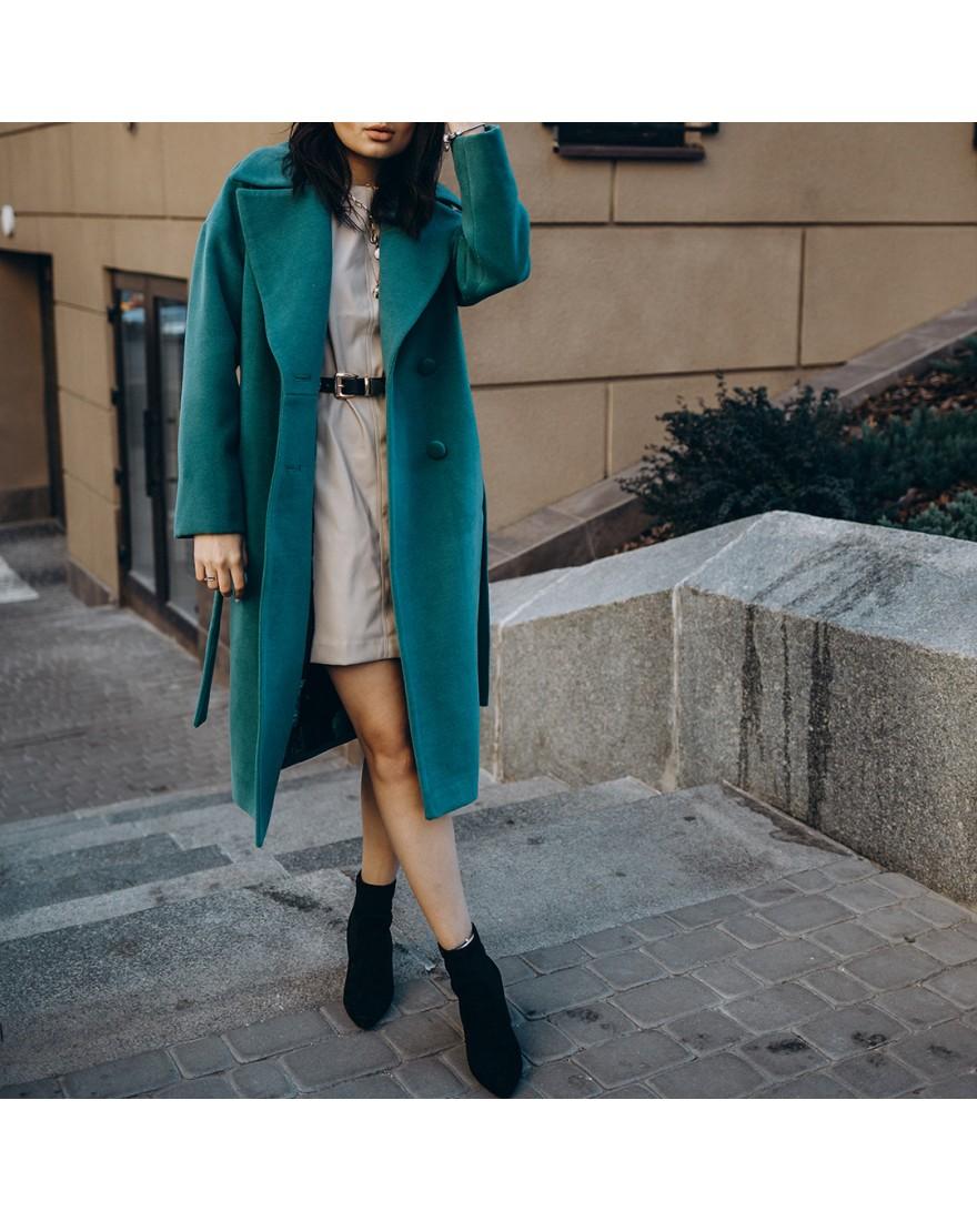 Довге жіноче пальто з поясом 4 ґудзика, зелене