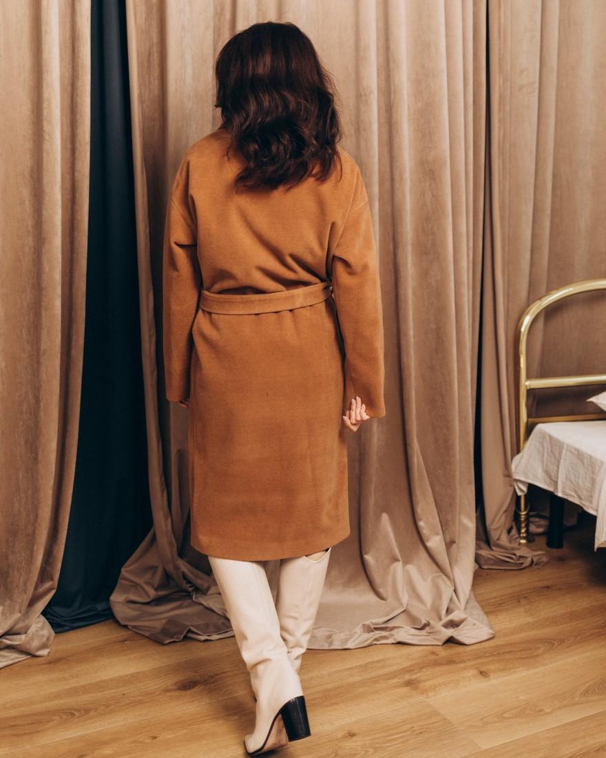 Довге жіноче пальто з поясом 4 ґудзика, рижий нюд
