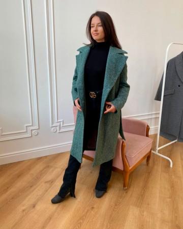 Довге жіноче пальто з поясом 4 ґудзика, ізумрудне / зеленя ялинка