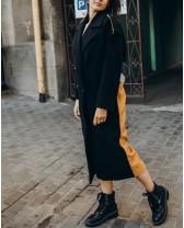 Довге пальто прямого крою з кокеткою 4  гудзика, чорне гірчиця