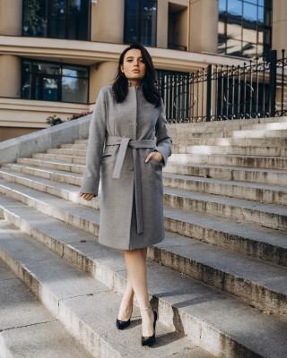Класичне приталене пальто з поясом 3 гудзика, сіре