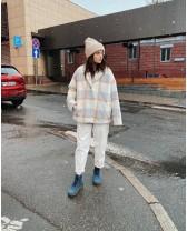 Жіноче коротке пальто, світло-небесна клітинка