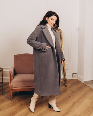 Жіноче пальто максі зі шлейками 2 ґудзика, сіре