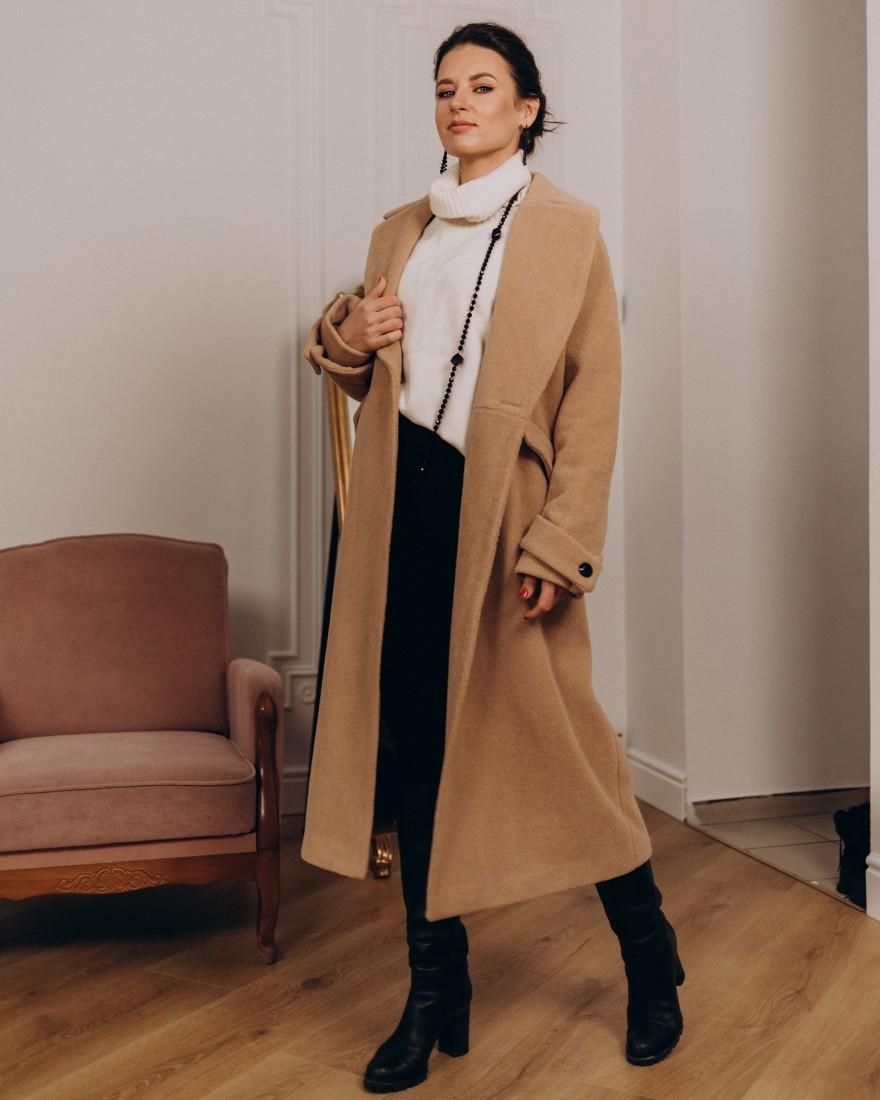 Жіноче пальто максі зі шлейками 2 ґудзика, бежеве