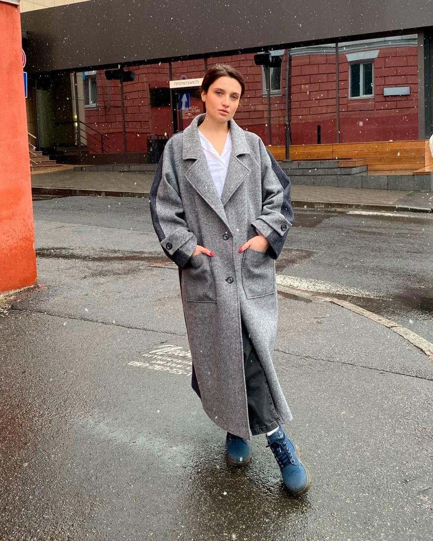 Довге жіноче оверсайз пальто 2 ґудзика, сіро-синій денім