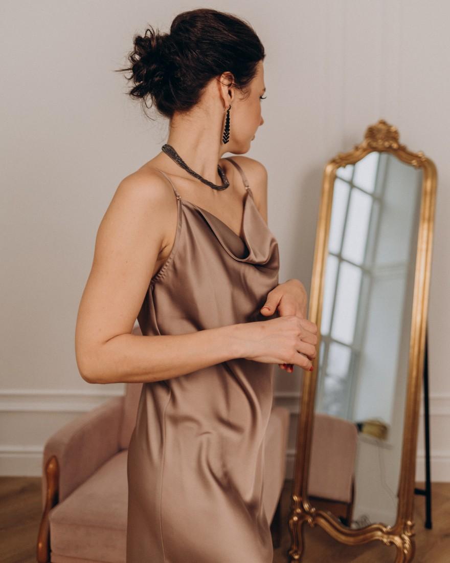 Жіноча сукня комбінація, капучіно