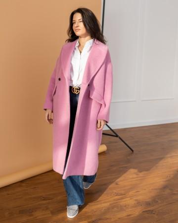 Жіноче пальто максі 2 ґудзика, рожеве