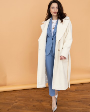 Довге жіноче пальто з поясом, весняний Тедді