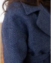 Довге жіноче пальто з поясом 4 ґудзика, синя ялинка