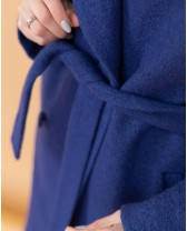 Довге жіноче пальто з поясом 4 ґудзика, синя вовна