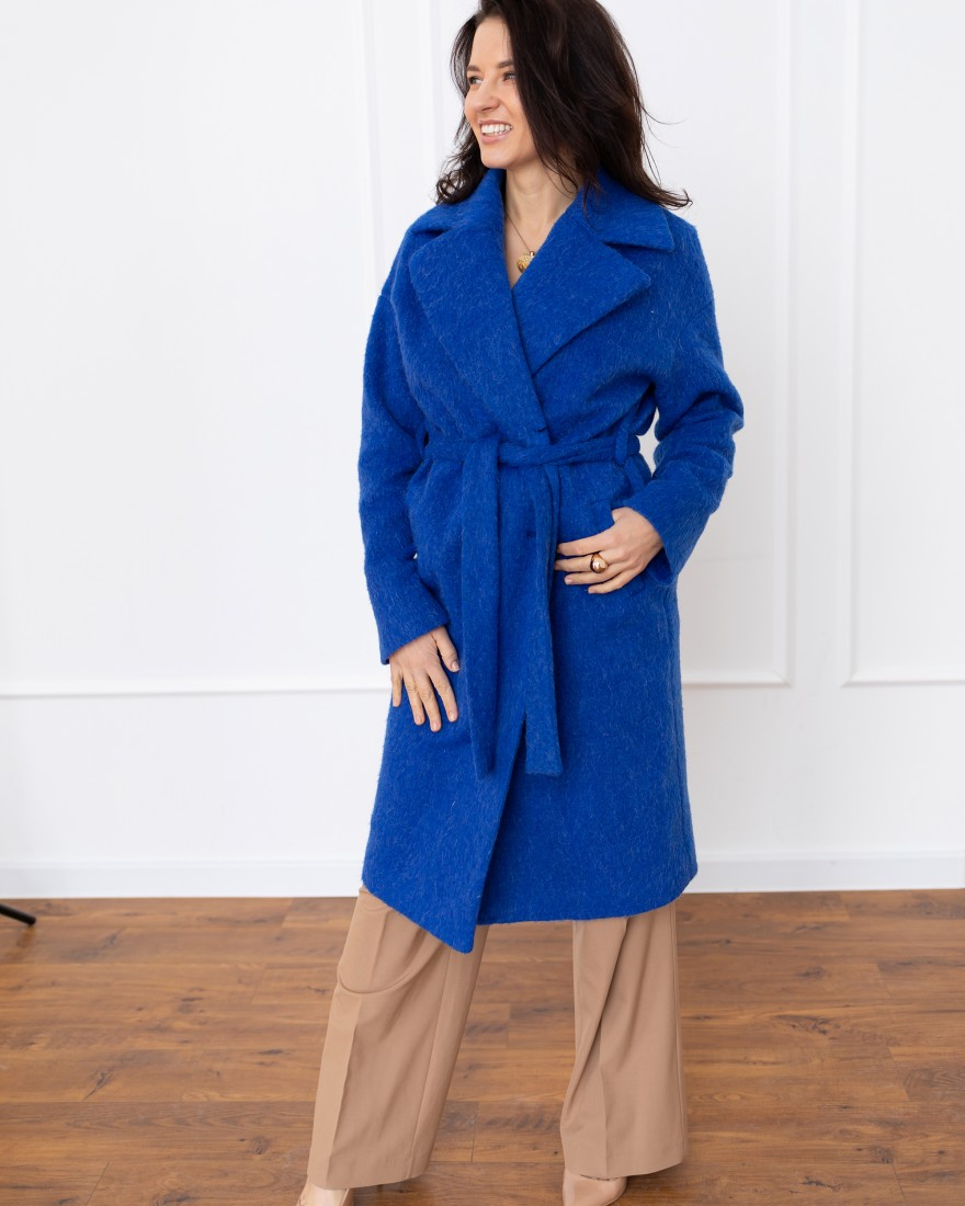 Довге жіноче пальто з поясом 4 ґудзика, синє довговорсове