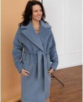 Довге жіноче пальто з поясом 4 ґудзика, блакитна вовна