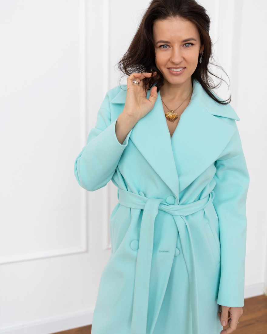 Довге жіноче пальто з поясом 4 ґудзика, бірюзове